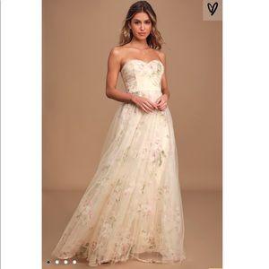 Beige Floral Strapless Maxi Dress